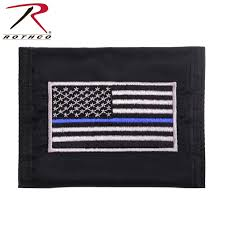 Thin Blue Line Flag Thin Blue Line Flag Wallet Black Nylon Tri Fold Wallet With Tbl