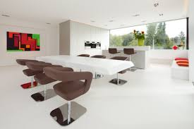 Lavish Sofa Also Black Table And White Drum Shade Chandelier As - White modern dining room sets