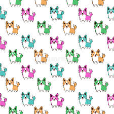 pixel wrapping paper pixel style pattern with dog breed corgi on a white