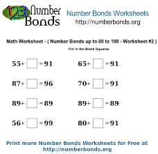number bonds math worksheet from 80 to 100 worksheet 2 number