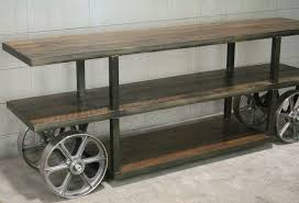 Media Console Tables by Buy A Hand Crafted Industrial Trolley Cart Media Console