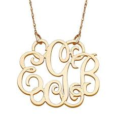 monogram necklace gold 10k or 14k gold 3 initial fancy monogram necklace 10063546 hsn