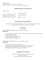 exle resume letter resume letter for bank resume exles for a bank teller teller