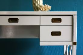 Glossy White Desk by The Turquoise Iris Furniture U0026 Art White Campaign Desk In