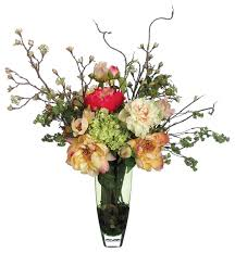 Faux Peonies Peonies Roses And Hydrangeas Silk Floral Arrangement In A Clear