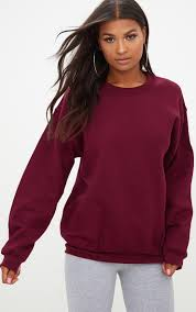maroon sweater maroon oversized sweater tops prettylittlething