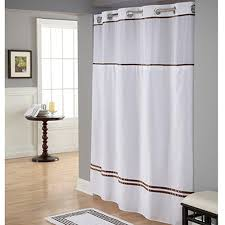 White And Brown Curtains Hookless White Brown Polyester Shower Curtain Walmart