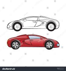 sports car drawing red black outline sports carvector drawing stock vector 513018112