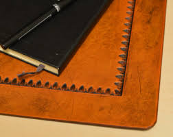 White Leather Desk Blotter Leather Desk Pad Etsy