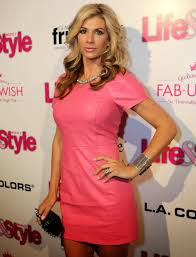 celebrities in leather alexis bellino wears a short pink leather