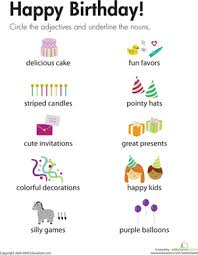 adjectives and nouns happy birthday worksheet education com