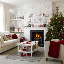 lovely white christmas living room decor ideas with red color