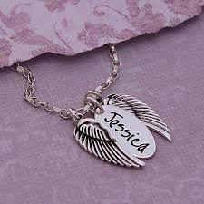 necklace with angel wings images Handmade personalised silver name necklace with angel wings by jpg