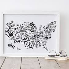 Usa Map Black And White by Illustrated Usa Map Print By Old English Company