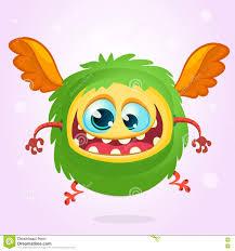 Cute Halloween Vector Cute Cartoon Flying Monster Halloween Vector Fluffy Green Monster