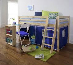 Mid Sleeper Wooden Pine Bunk Bed Cabin Bed Desk BLUE Amazonco - Mid sleeper bunk bed
