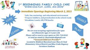 Sample Daycare Resume by 1st Beginnings Family Child Care Waldorf Md Registered Family