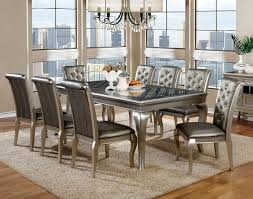 Silver Dining Table And Chairs Furniture Of America Cm3219t Cm3219sc Amina Contemporary Silver