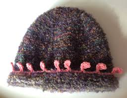 handmade knitted ladies hat in boucle yarn mohair mix shades of