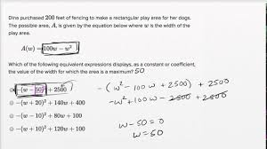 quadratic and exponential word problems u2014 basic example video