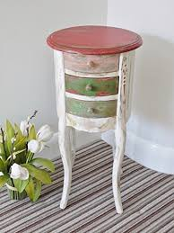 french style white washed coloured round bedside lamp table