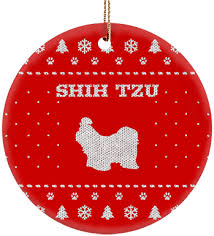 shih tzu ceramic circle ornament iheartdogs