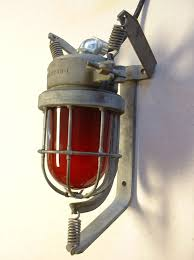 vtg explosion proof light fixture wall sconce industrial red globe