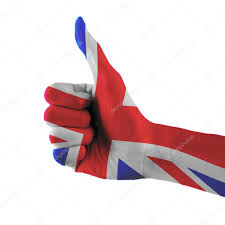 united kingdom great britain flag painted hand showing thumbs up