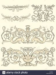 set of five classical ornaments stock photo royalty free image