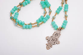 glass cross necklace images Turquoise czech glass necklace with vintage ethiopian cross jpg