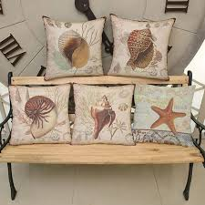marine home decor vintage marine life decorative pillows covers home decor whelk sea