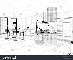 linear kitchen 3d linear kitchen interior stock illustration 288442463 shutterstock