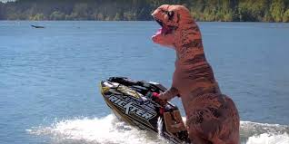T Rex Costume Professional Jet Skier Performs Tricks In T Rex Costume Askmen