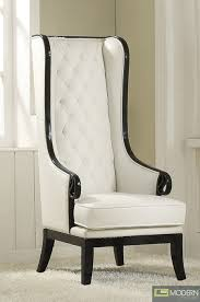 High Back Accent Chair Neo Classic Opal Black White High Back Accent Wing Arm Chair A