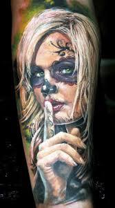 warning santa muerte forearm tattoos