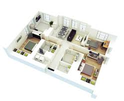 Floor Plan 2 Bedroom Bungalow by 25 More 2 Bedroom 3d Floor Plans For 2 Bedroom Houses 1024x834