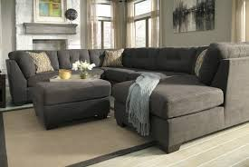 couch and ottoman set furniture plush u shaped black leather sectional couch with double