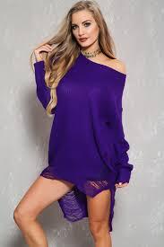 purple long sleeve high low hem distress sweater dress