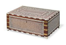 Indian Table L An Anglo Indian Brass Bound Ivory Inlaid Teak Writing Box