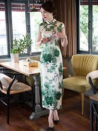 green watercolor long party cheongsam chinese dress u2013 traditional