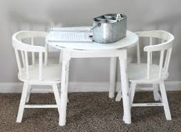 vintage kids table and chairs makeover with chalk paint the glam