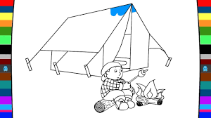 how to draw and coloring camping art of painting for kids youtube