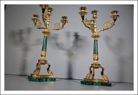 candelieri in argento candelieri argento vermeil e malachite 0170011 antiquariato su