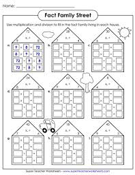 number fact families number family worksheets multiplication and division