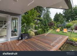 perspective view contemporary pacific northwest home stock photo