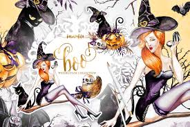 halloween wreath transparent background halloween watercolor collection illustrations creative market