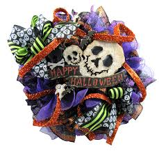 how to make a halloween wreath with mesh ribbon 2017 happy halloween skull wreath tutorial trendy tree blog
