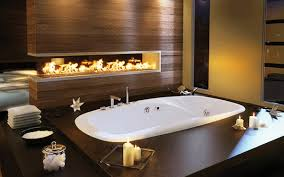 bathroom single bathtub in large size with candles on both sides