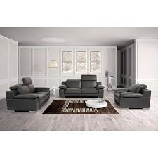 Genuine Leather Living Room Sets Marcelino Black Italian Genuine Leather 3 Living Room Set