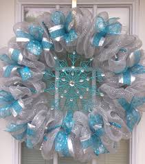 white deco mesh winter decorations how to make mesh wreath blue white deco mesh